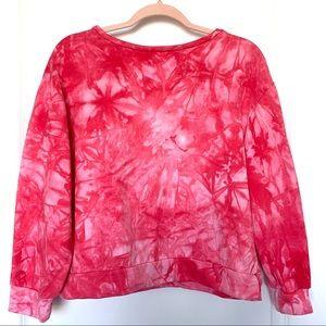TIE-DYE Crewneck Pullover Sweatshirt Pink & White
